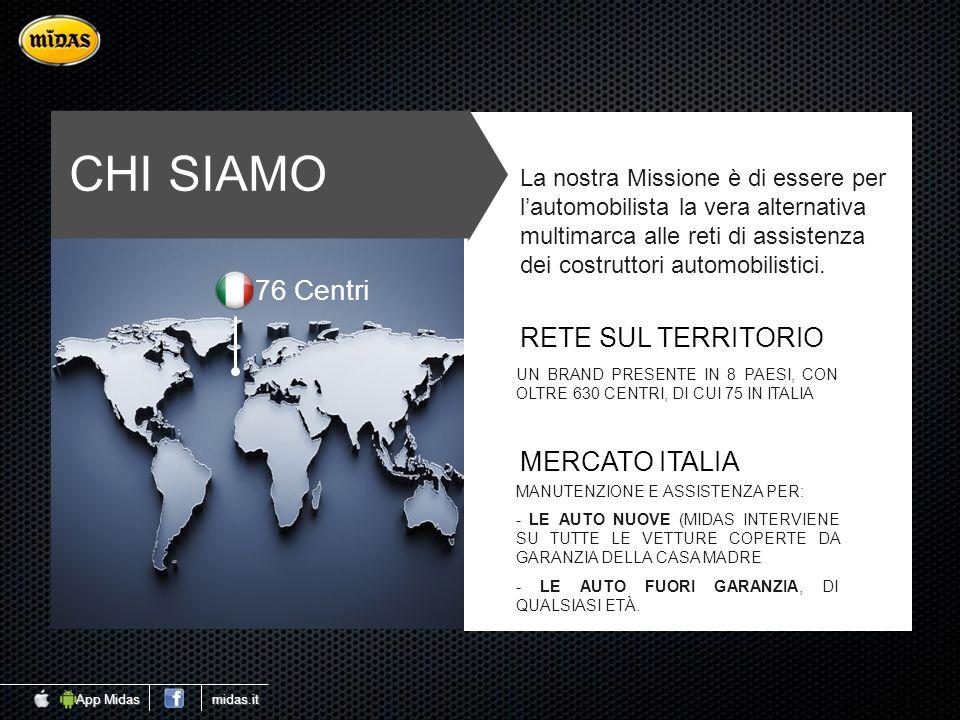CHI SIAMO RETE SUL TERRITORIO UN BRAND PRESENTE IN 8 PAESI, CON OLTRE 630 CENTRI, DI CUI 75 IN ITALIA MERCATO ITALIA MANUTENZIONE E ASSISTENZA PER: -