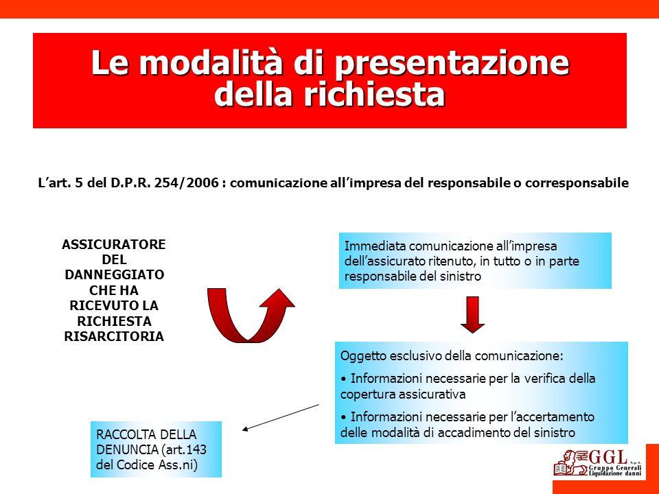 Le modalità di presentazione della richiesta Lart. 5 del D.P.R. 254/2006 : comunicazione allimpresa del responsabile o corresponsabile Immediata comun
