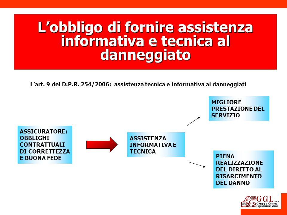 ASSICURATORE: OBBLIGHI CONTRATTUALI DI CORRETTEZZA E BUONA FEDE ASSISTENZA INFORMATIVA E TECNICA Lart. 9 del D.P.R. 254/2006: assistenza tecnica e inf