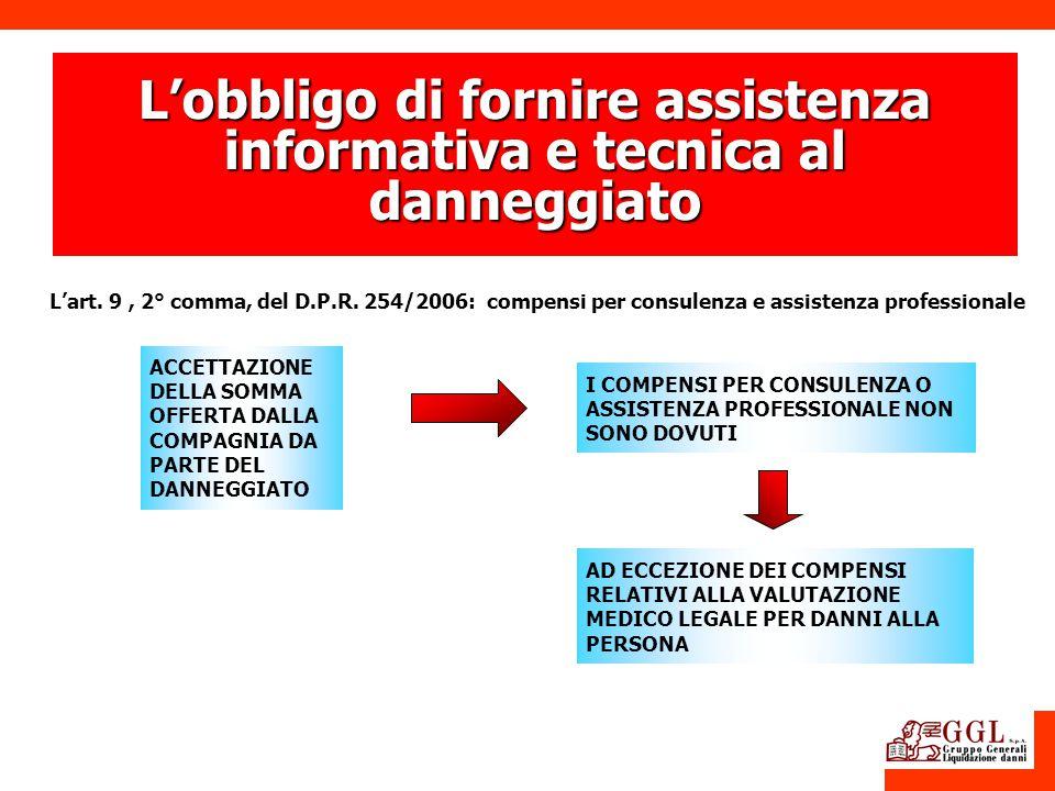 ACCETTAZIONE DELLA SOMMA OFFERTA DALLA COMPAGNIA DA PARTE DEL DANNEGGIATO Lart. 9, 2° comma, del D.P.R. 254/2006: compensi per consulenza e assistenza