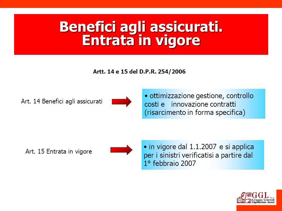Benefici agli assicurati. Entrata in vigore Art. 14 Benefici agli assicurati ottimizzazione gestione, controllo costi e innovazione contratti (risarci