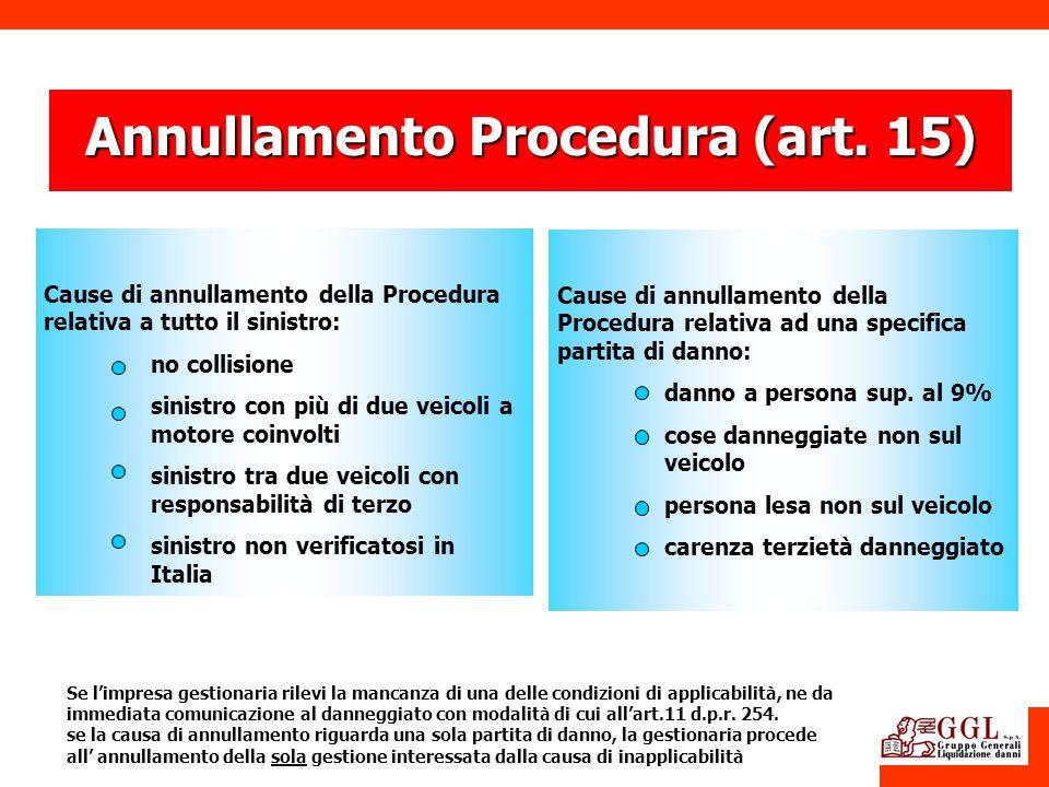 Annullamento Procedura (art. 15) Cause di annullamento della Procedura relativa a tutto il sinistro: no collisione sinistro con più di due veicoli a m