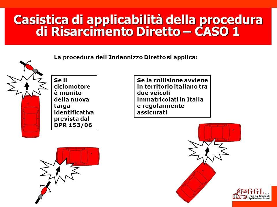 La procedura dellIndennizzo Diretto si applica: Casistica di applicabilità della procedura di Risarcimento Diretto – CASO 1 Se il ciclomotore è munito