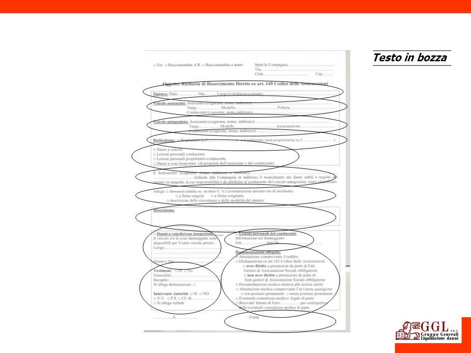 Modulo standard di risarcimento Testo in bozza