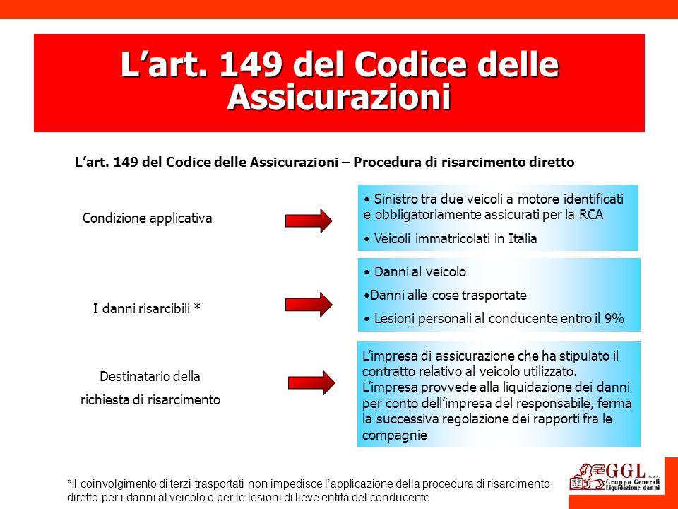Lart. 149 del Codice delle Assicurazioni Lart. 149 del Codice delle Assicurazioni – Procedura di risarcimento diretto Destinatario della richiesta di