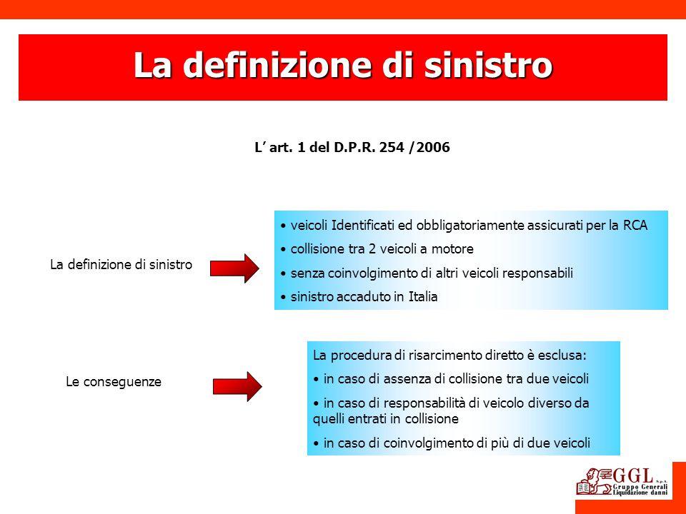 La definizione di sinistro L art. 1 del D.P.R. 254 /2006 La definizione di sinistro Le conseguenze La procedura di risarcimento diretto è esclusa: in