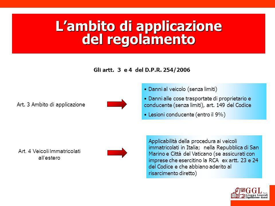 Lambito di applicazione del regolamento Gli artt. 3 e 4 del D.P.R. 254/2006 Art. 3 Ambito di applicazione Art. 4 Veicoli Immatricolati allestero Appli