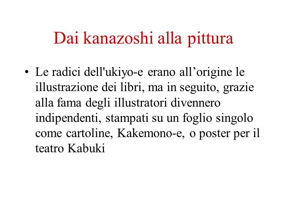 Dai kanazoshi alla pittura Le radici dell'ukiyo-e erano allorigine le illustrazione dei libri, ma in seguito, grazie alla fama degli illustratori dive
