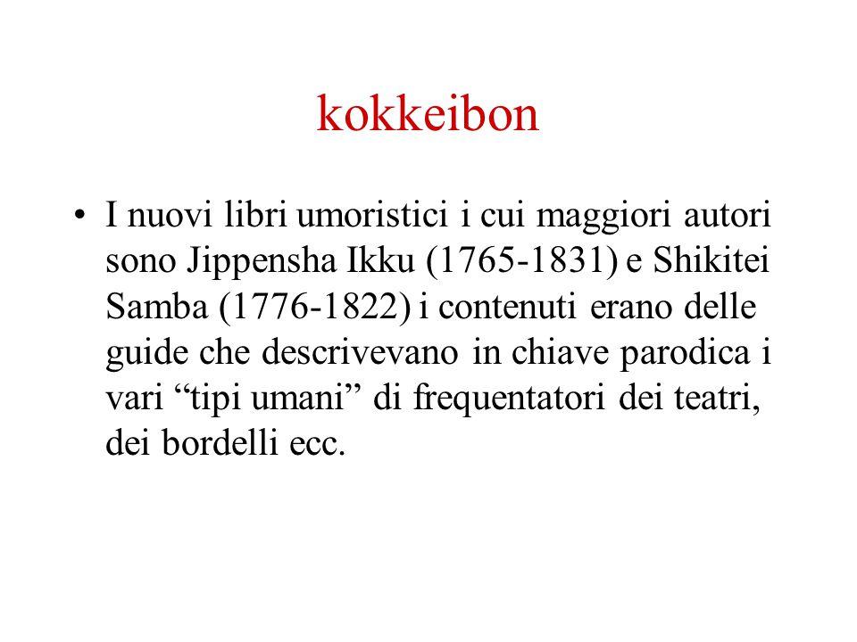 kokkeibon I nuovi libri umoristici i cui maggiori autori sono Jippensha Ikku (1765-1831) e Shikitei Samba (1776-1822) i contenuti erano delle guide ch