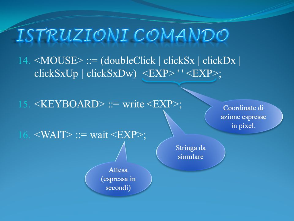 14. ::= (doubleClick | clickSx | clickDx | clickSxUp | clickSxDw) ' ' ; 15. ::= write ; 16. ::= wait ; Coordinate di azione espresse in pixel. Coordin