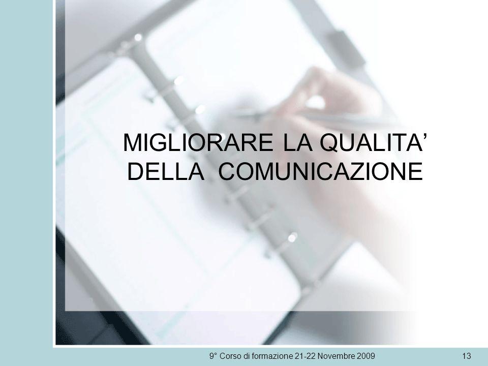 MIGLIORARE LA QUALITA DELLA COMUNICAZIONE 9° Corso di formazione 21-22 Novembre 200913