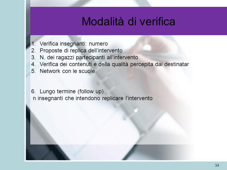 Modalità di verifica 34 1.Verifica insegnanti: numero 2.Proposte di replica dellintervento 3.N.