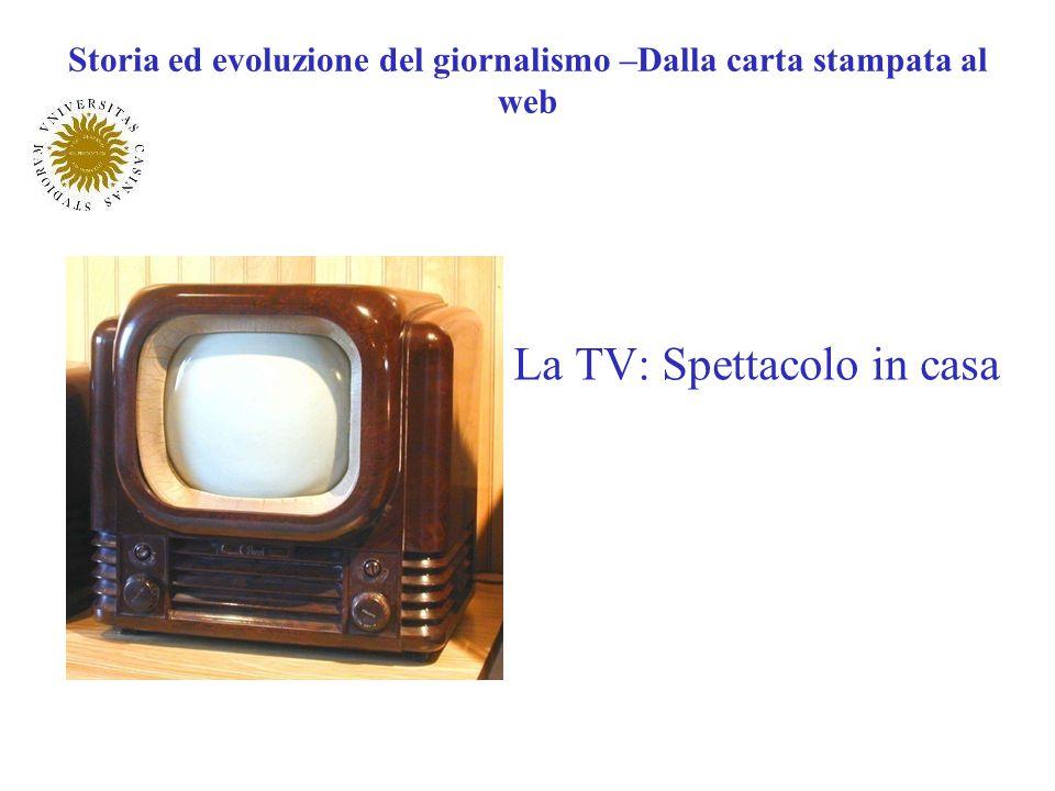 La TV: Spettacolo in casa Storia ed evoluzione del giornalismo –Dalla carta stampata al web