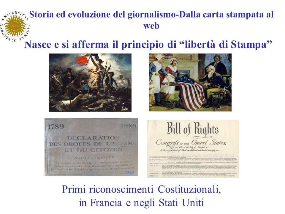 Storia ed evoluzione del giornalismo-Dalla carta stampata al web Nasce e si afferma il principio di libertà di Stampa Primi riconoscimenti Costituzion