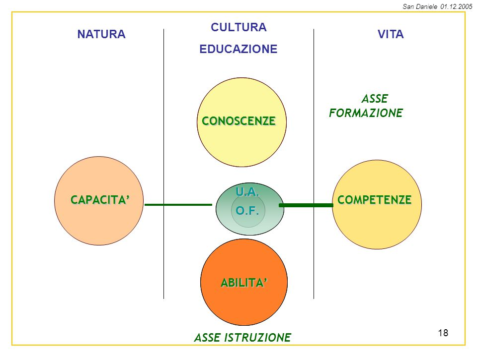 San Daniele 01.12.2005 18 NATURA CULTURA EDUCAZIONE VITA COMPETENZECAPACITA CONOSCENZE ABILITA O.F.