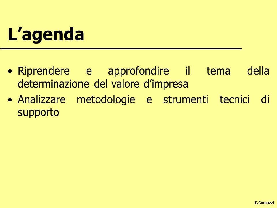 E.Comuzzi Lagenda Riprendere e approfondire il tema della determinazione del valore dimpresa Analizzare metodologie e strumenti tecnici di supporto