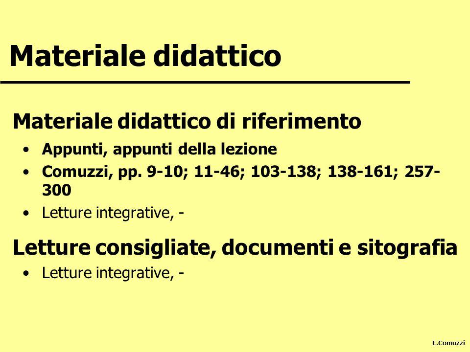 E.Comuzzi Materiale didattico Materiale didattico di riferimento Appunti, appunti della lezione Comuzzi, pp. 9-10; 11-46; 103-138; 138-161; 257- 300 L