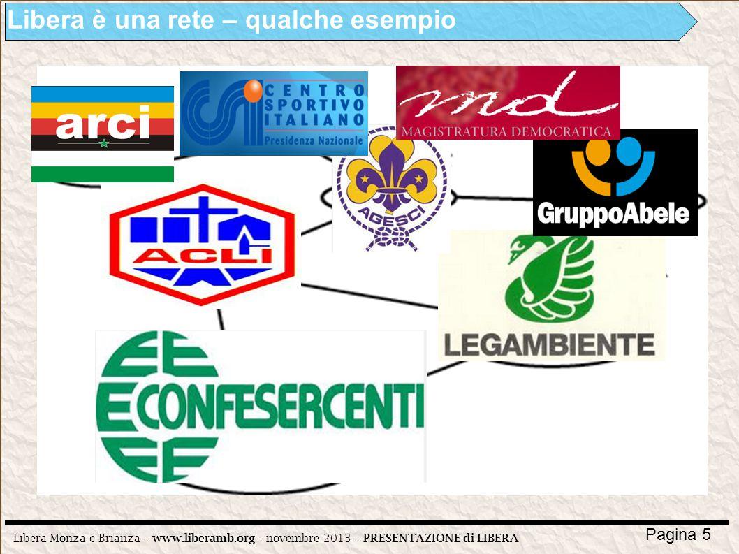 Libera Monza e Brianza – www.liberamb.org - novembre 2013 – PRESENTAZIONE di LIBERA Pagina 5 Libera è una rete – qualche esempio