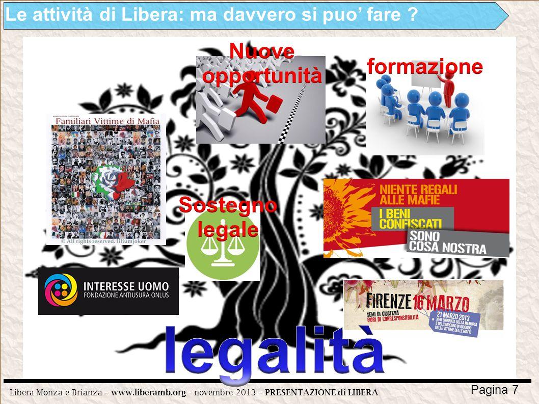 Libera Monza e Brianza – www.liberamb.org - novembre 2013 – PRESENTAZIONE di LIBERA Pagina 7 Le attività di Libera: ma davvero si puo fare ?