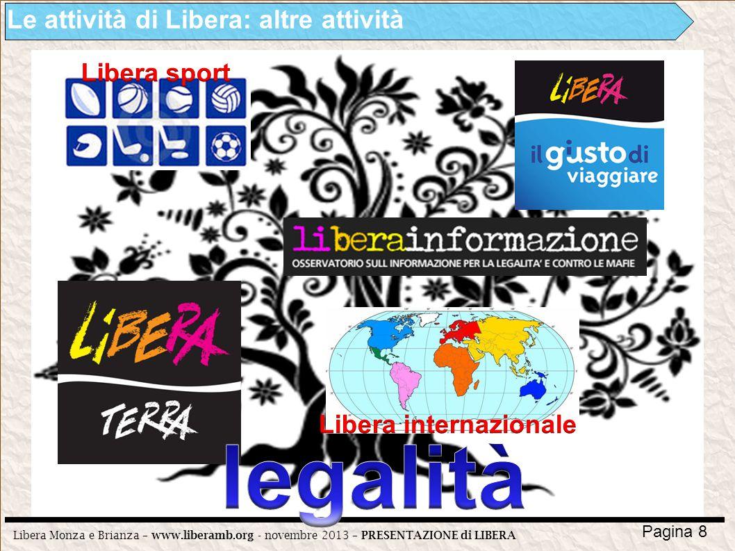 Libera Monza e Brianza – www.liberamb.org - novembre 2013 – PRESENTAZIONE di LIBERA Pagina 8 Le attività di Libera: altre attività