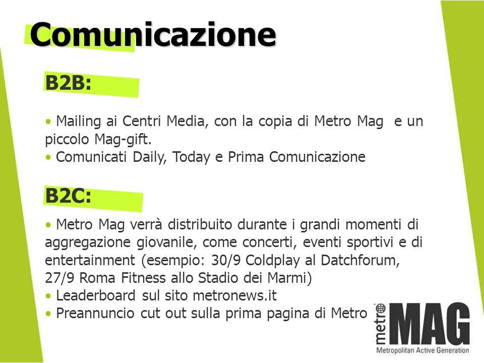B2B: Mailing ai Centri Media, con la copia di Metro Mag e un piccolo Mag-gift.