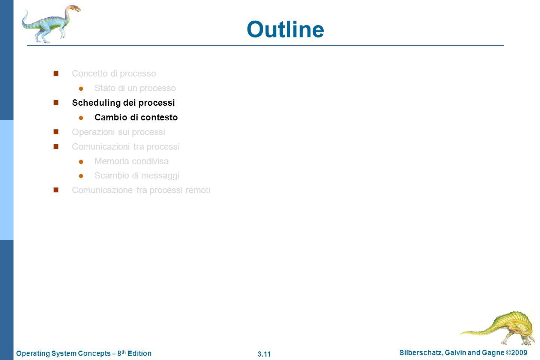 3.11 Silberschatz, Galvin and Gagne ©2009 Operating System Concepts – 8 th Edition Outline Concetto di processo Stato di un processo Scheduling dei pr