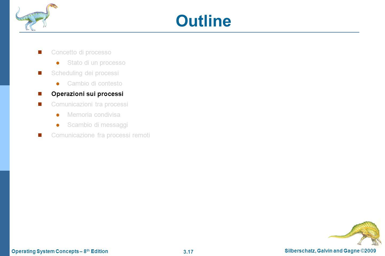 3.17 Silberschatz, Galvin and Gagne ©2009 Operating System Concepts – 8 th Edition Outline Concetto di processo Stato di un processo Scheduling dei pr
