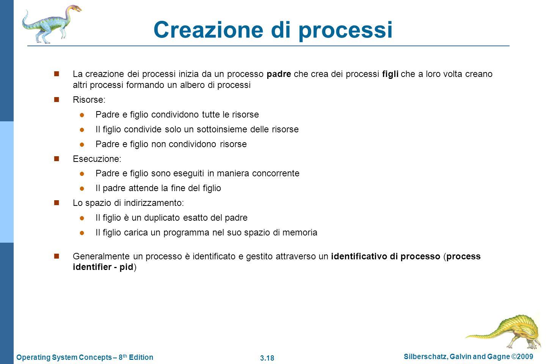 3.18 Silberschatz, Galvin and Gagne ©2009 Operating System Concepts – 8 th Edition Creazione di processi La creazione dei processi inizia da un proces