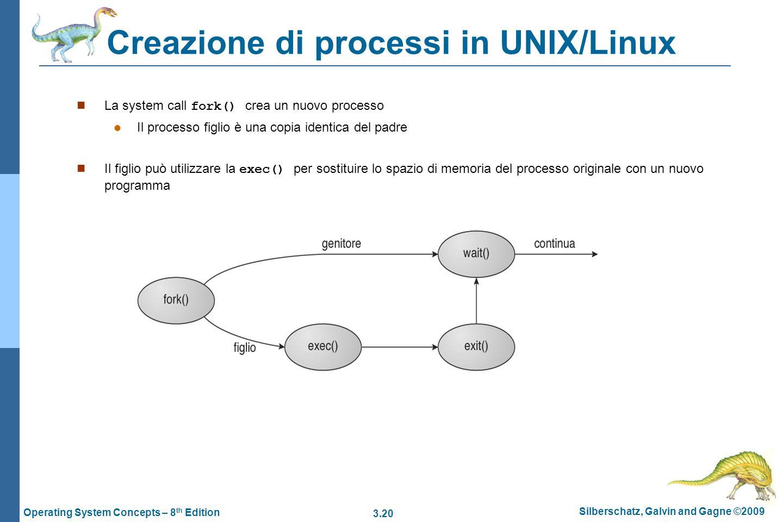 3.20 Silberschatz, Galvin and Gagne ©2009 Operating System Concepts – 8 th Edition Creazione di processi in UNIX/Linux La system call fork() crea un n