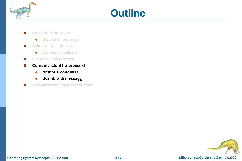3.22 Silberschatz, Galvin and Gagne ©2009 Operating System Concepts – 8 th Edition Outline Concetto di processo Stato di un processo Scheduling dei pr