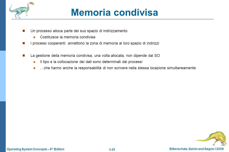 3.25 Silberschatz, Galvin and Gagne ©2009 Operating System Concepts – 8 th Edition Memoria condivisa Un processo alloca parte del suo spazio di indiri