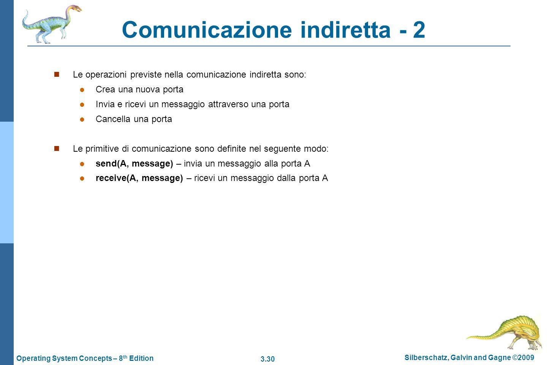 3.30 Silberschatz, Galvin and Gagne ©2009 Operating System Concepts – 8 th Edition Comunicazione indiretta - 2 Le operazioni previste nella comunicazi