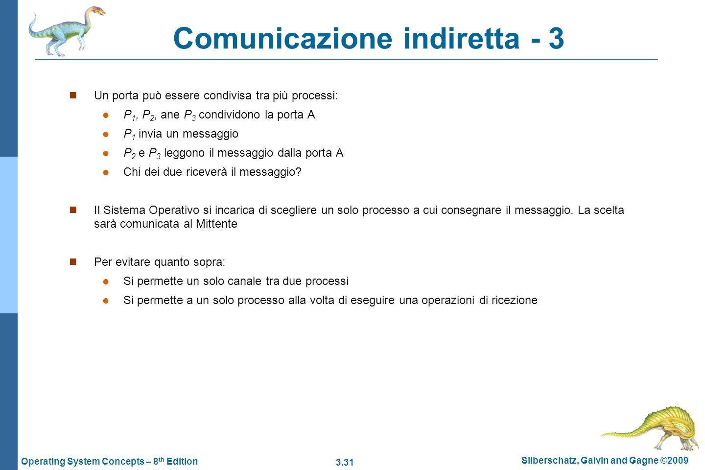 3.31 Silberschatz, Galvin and Gagne ©2009 Operating System Concepts – 8 th Edition Comunicazione indiretta - 3 Un porta può essere condivisa tra più p