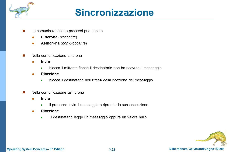 3.32 Silberschatz, Galvin and Gagne ©2009 Operating System Concepts – 8 th Edition Sincronizzazione La comunicazione tra processi può essere Sincrona
