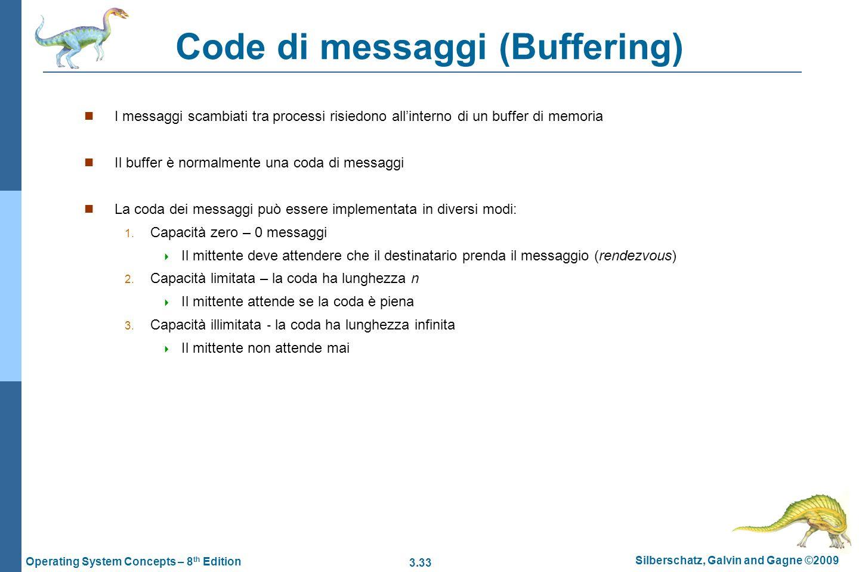 3.33 Silberschatz, Galvin and Gagne ©2009 Operating System Concepts – 8 th Edition Code di messaggi (Buffering) I messaggi scambiati tra processi risi