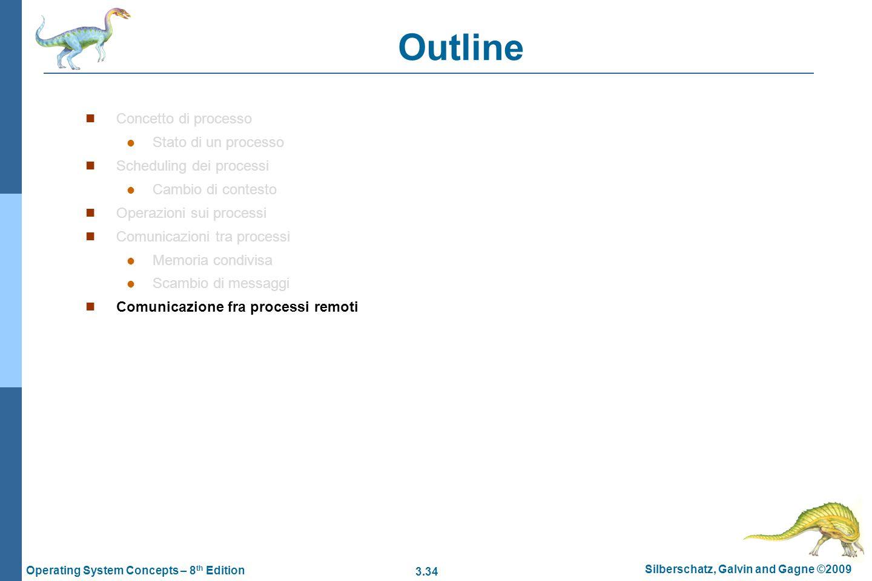 3.34 Silberschatz, Galvin and Gagne ©2009 Operating System Concepts – 8 th Edition Outline Concetto di processo Stato di un processo Scheduling dei pr