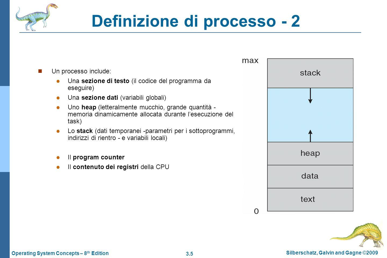 3.6 Silberschatz, Galvin and Gagne ©2009 Operating System Concepts – 8 th Edition Stato di un processo Mentre viene eseguito, un processo è soggetto a transizioni di stato, definite in parte dallattività corrente del processo ed in parte da eventi esterni, asincroni rispetto alla sua esecuzione: Nuovo (new): Il processo è creato Esecuzione (running): Le istruzioni di un processo sono eseguite Attesa (waiting): Il processo attente che si verifichi qualche evento Pronto (ready): Il processo attende che sia assegnato ad un processore Terminato (terminated): Il processo ha terminato la sua esecuzione