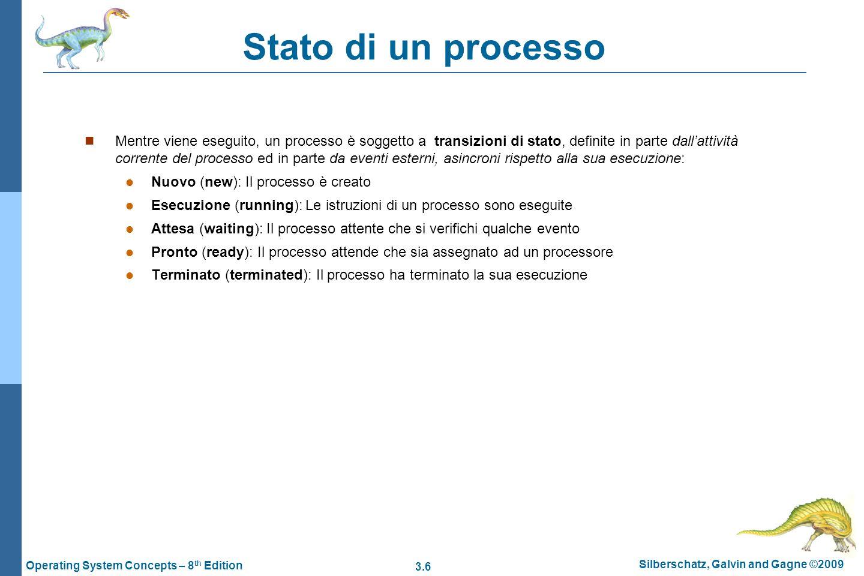 3.6 Silberschatz, Galvin and Gagne ©2009 Operating System Concepts – 8 th Edition Stato di un processo Mentre viene eseguito, un processo è soggetto a