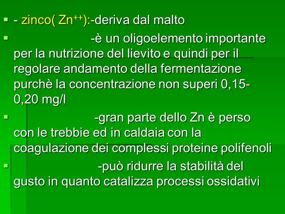 - zinco( Zn ++ ):-deriva dal malto - zinco( Zn ++ ):-deriva dal malto -è un oligoelemento importante per la nutrizione del lievito e quindi per il reg