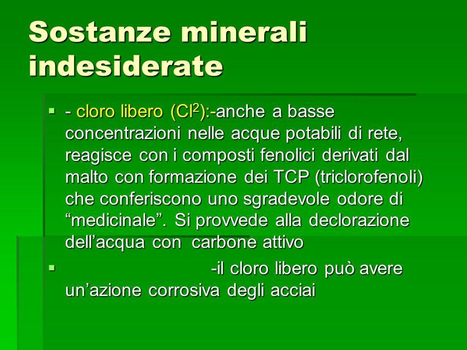 Sostanze minerali indesiderate - cloro libero (Cl 2 ):-anche a basse concentrazioni nelle acque potabili di rete, reagisce con i composti fenolici der