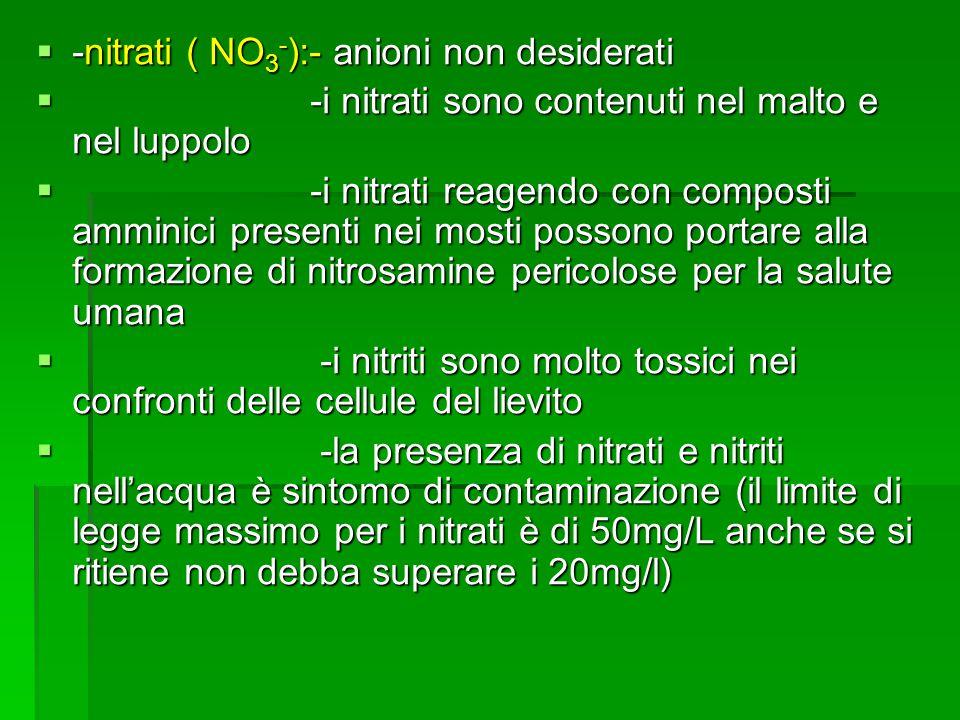 -nitrati ( NO 3 - ):- anioni non desiderati -nitrati ( NO 3 - ):- anioni non desiderati -i nitrati sono contenuti nel malto e nel luppolo -i nitrati s