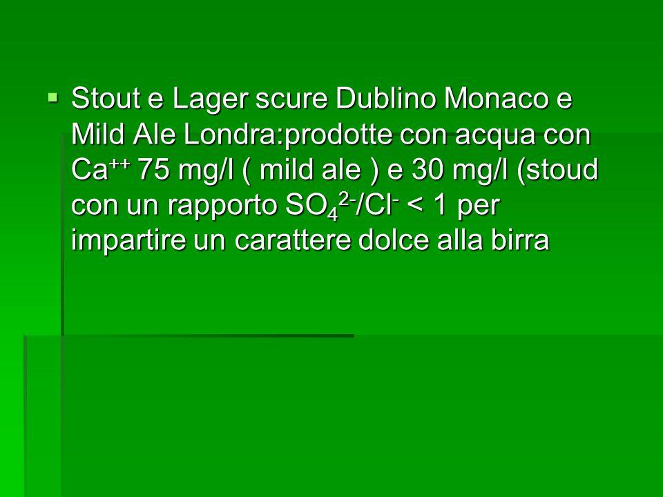 Stout e Lager scure Dublino Monaco e Mild Ale Londra:prodotte con acqua con Ca ++ 75 mg/l ( mild ale ) e 30 mg/l (stoud con un rapporto SO 4 2- /Cl -