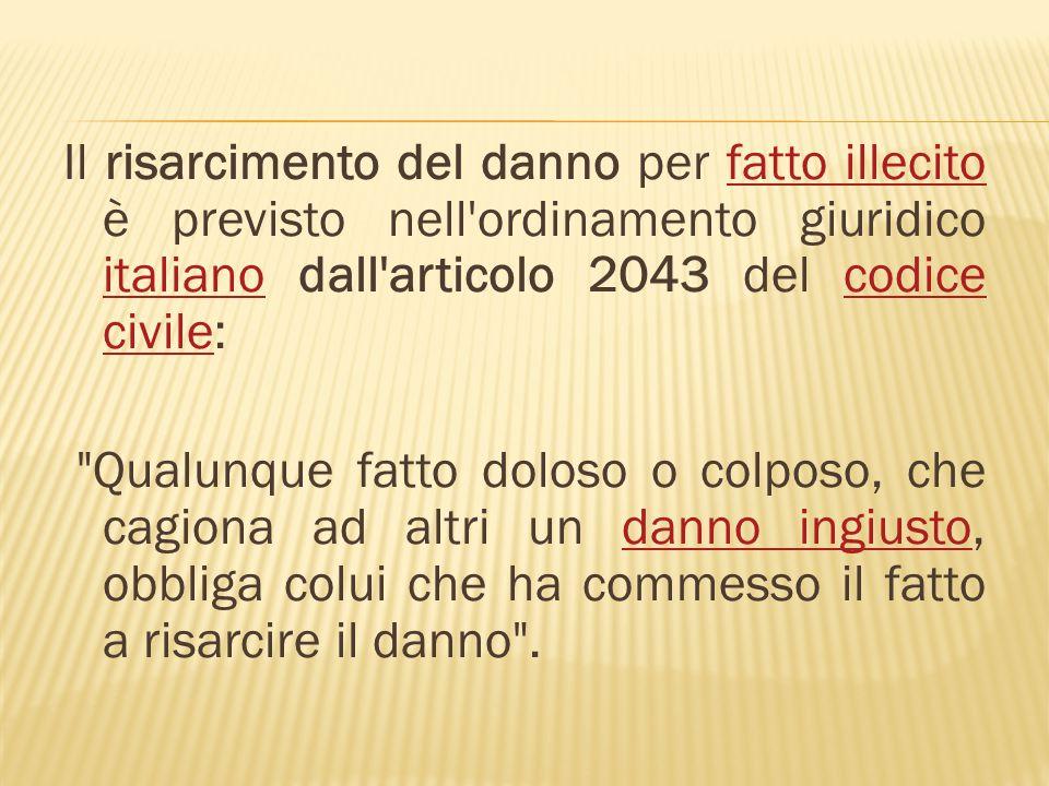 Il risarcimento del danno per fatto illecito è previsto nell'ordinamento giuridico italiano dall'articolo 2043 del codice civile:fatto illecito italia