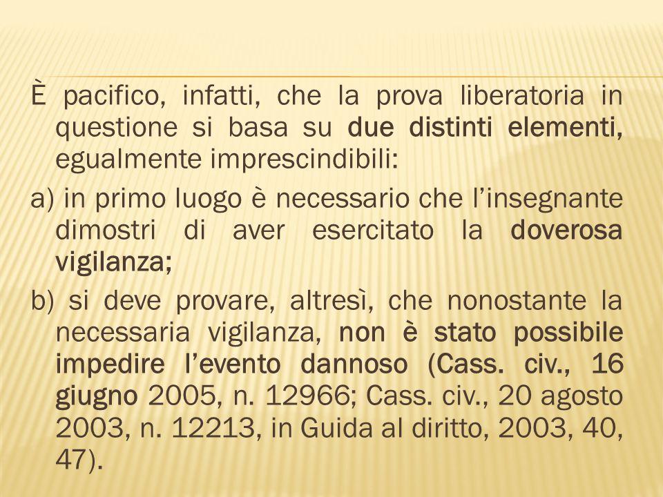 È pacifico, infatti, che la prova liberatoria in questione si basa su due distinti elementi, egualmente imprescindibili: a) in primo luogo è necessari