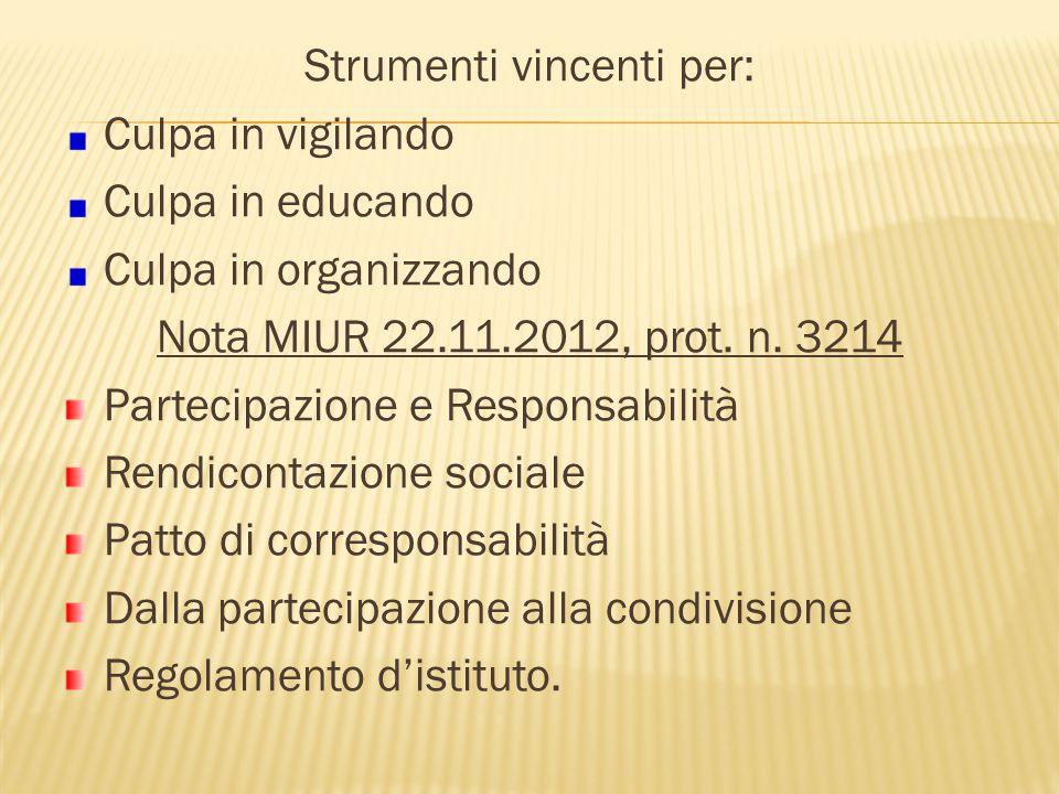 Strumenti vincenti per: Culpa in vigilando Culpa in educando Culpa in organizzando Nota MIUR 22.11.2012, prot. n. 3214 Partecipazione e Responsabilità