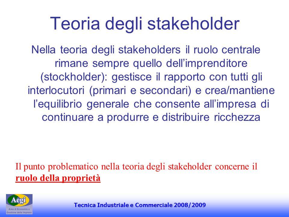 Tecnica Industriale e Commerciale 2008/2009 Teoria degli stakeholder Nella teoria degli stakeholders il ruolo centrale rimane sempre quello dellimpren