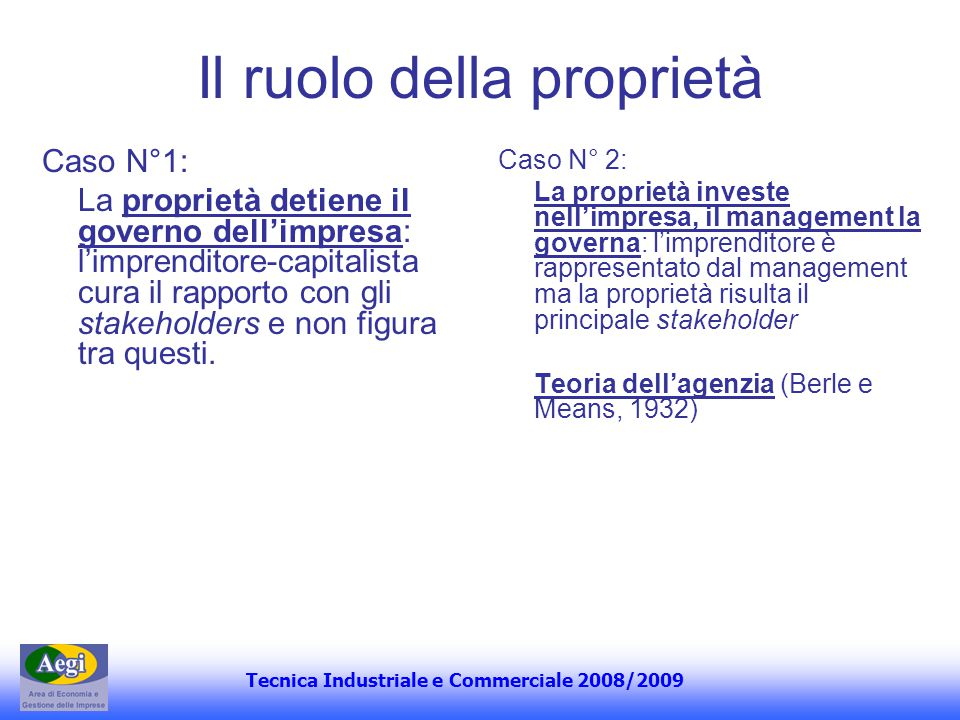 Tecnica Industriale e Commerciale 2008/2009 Il ruolo della proprietà Caso N°1: La proprietà detiene il governo dellimpresa: limprenditore-capitalista