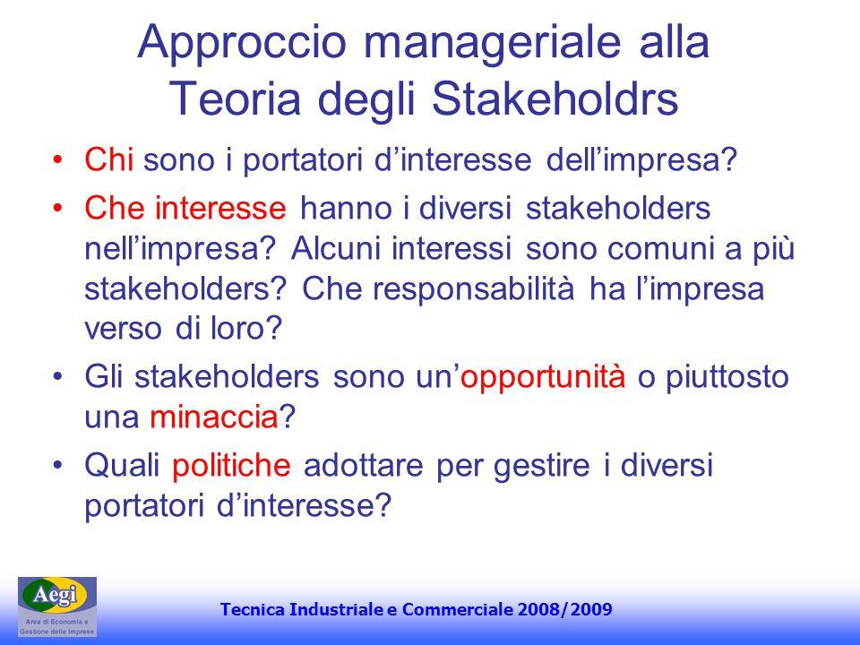 Tecnica Industriale e Commerciale 2008/2009 Per capire il grado dinfluenza che gli stakeholders possono esercitare sulla gestione occorre individuarne: 1.La forza (o potere) alla luce del ruolo ricoperto (es.