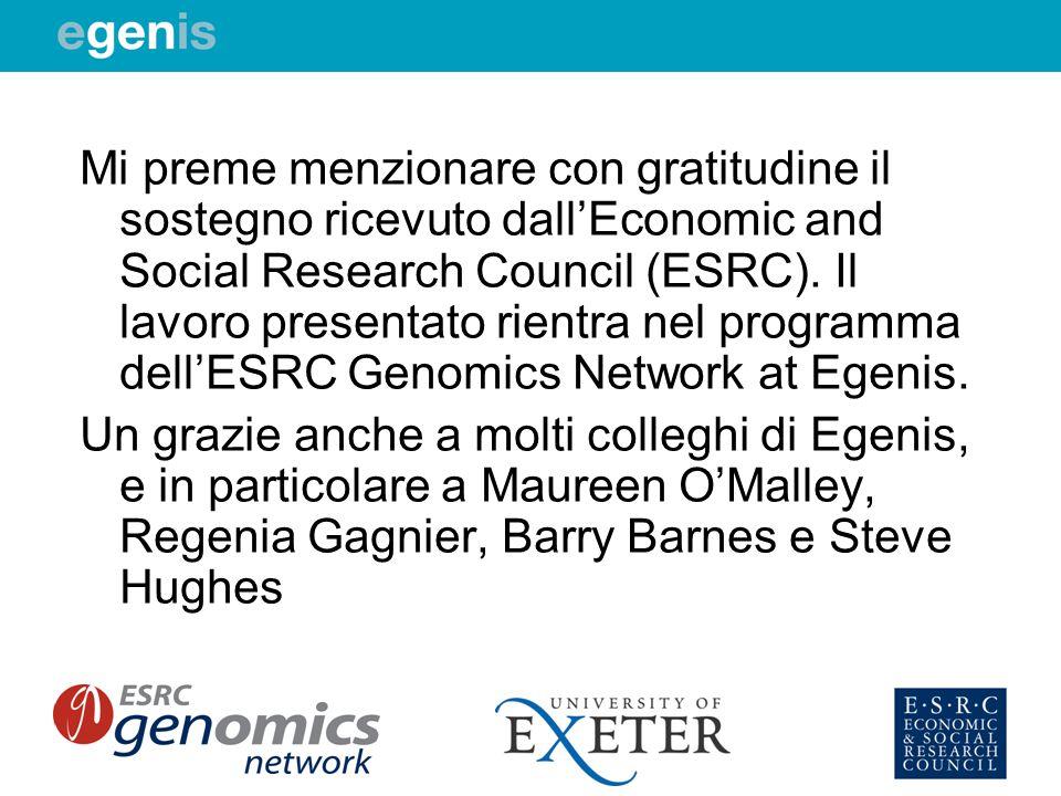 Mi preme menzionare con gratitudine il sostegno ricevuto dallEconomic and Social Research Council (ESRC). Il lavoro presentato rientra nel programma d