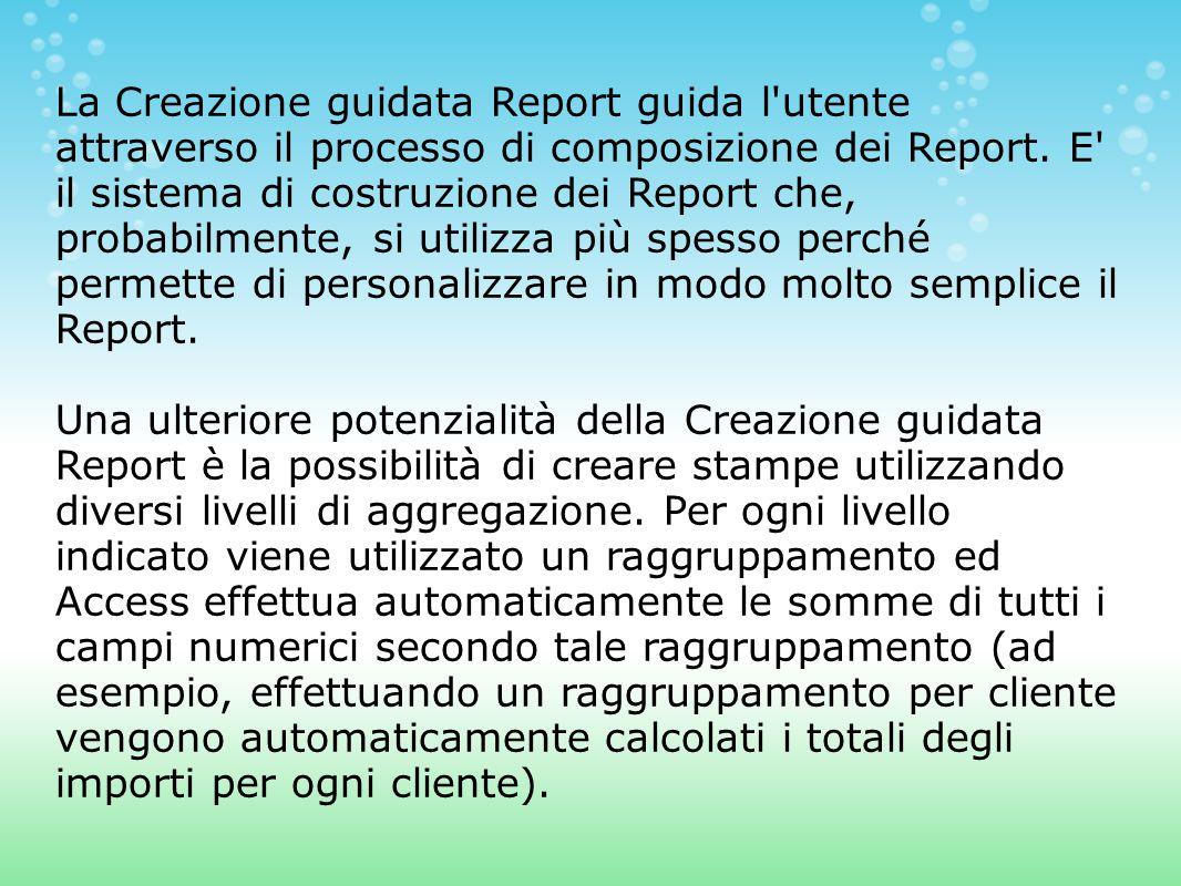 La Creazione guidata Report guida l utente attraverso il processo di composizione dei Report.